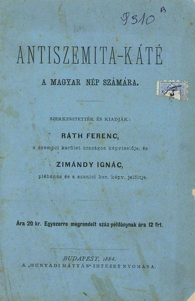 """Képtalálat a következőre: """"ANTISZEMITA-KÁTÉ, 1884."""""""